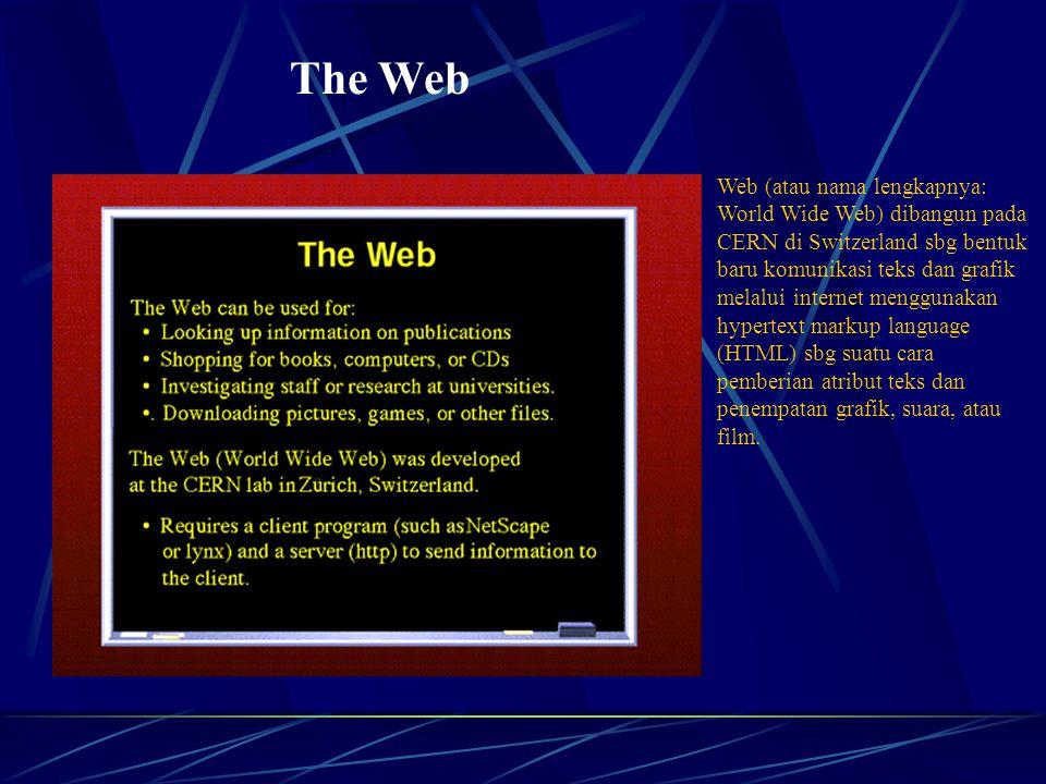 The Web Web (atau nama lengkapnya: World Wide Web) dibangun pada CERN di Switzerland sbg bentuk baru komunikasi teks dan grafik melalui internet menggunakan hypertext markup language (HTML) sbg suatu cara pemberian atribut teks dan penempatan grafik, suara, atau film.