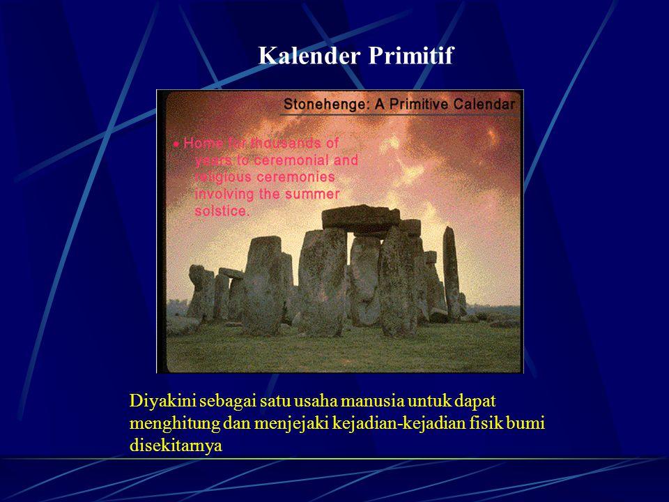 Kalender Primitif Diyakini sebagai satu usaha manusia untuk dapat menghitung dan menjejaki kejadian-kejadian fisik bumi disekitarnya