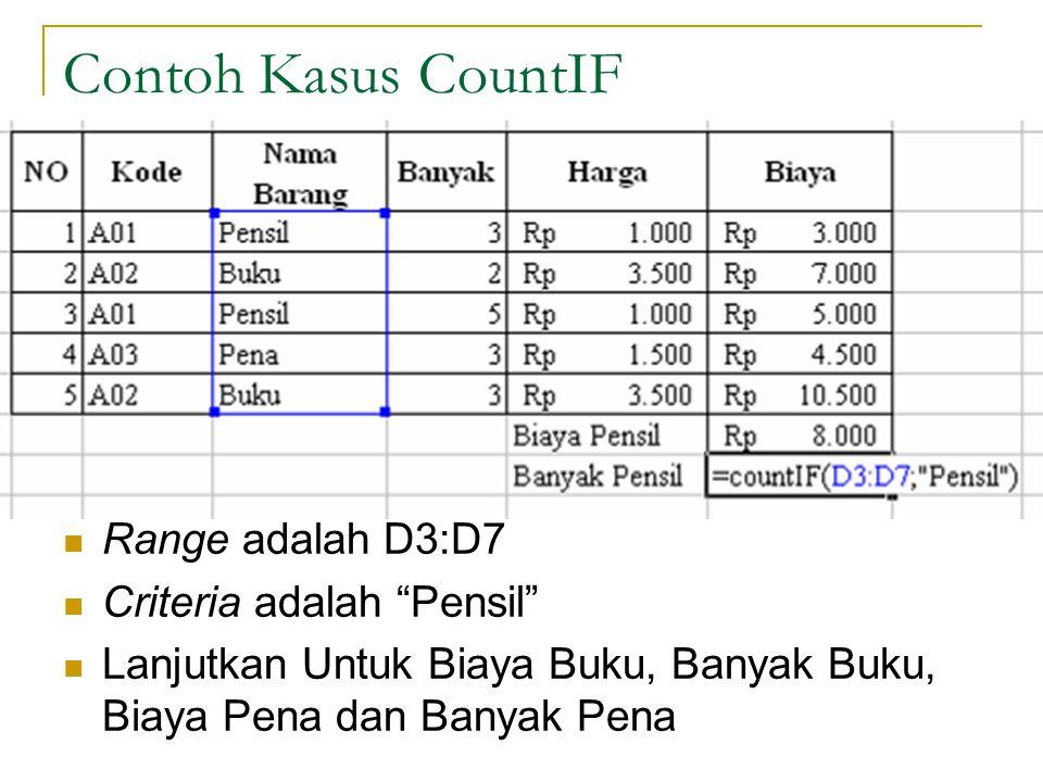 """Edri Yunizal Manajemen Informatika STAIN BSK 11 Contoh Kasus CountIF Range adalah D3:D7 Criteria adalah """"Pensil"""" Lanjutkan Untuk Biaya Buku, Banyak Bu"""