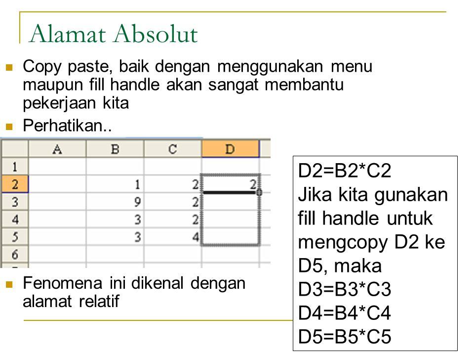 12 Alamat Absolut Copy paste, baik dengan menggunakan menu maupun fill handle akan sangat membantu pekerjaan kita Perhatikan.. Fenom D2=B2*C2 Jika kit