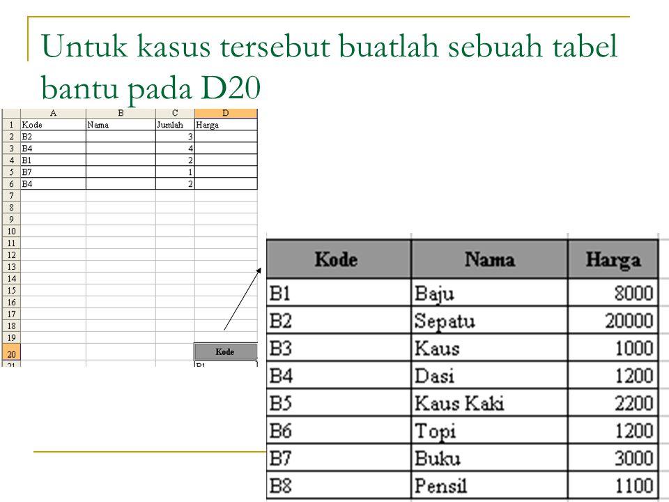 18 Untuk kasus tersebut buatlah sebuah tabel bantu pada D20