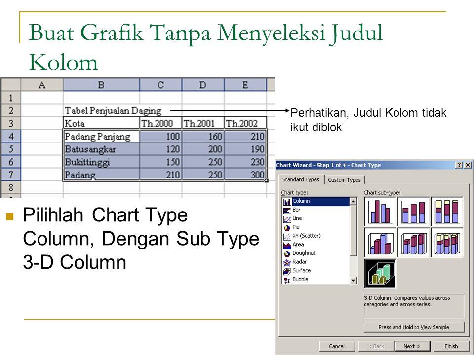 24 Buat Grafik Tanpa Menyeleksi Judul Kolom Pilihlah Chart Type Column, Dengan Sub Type 3-D Column Perhatikan, Judul Kolom tidak ikut diblok