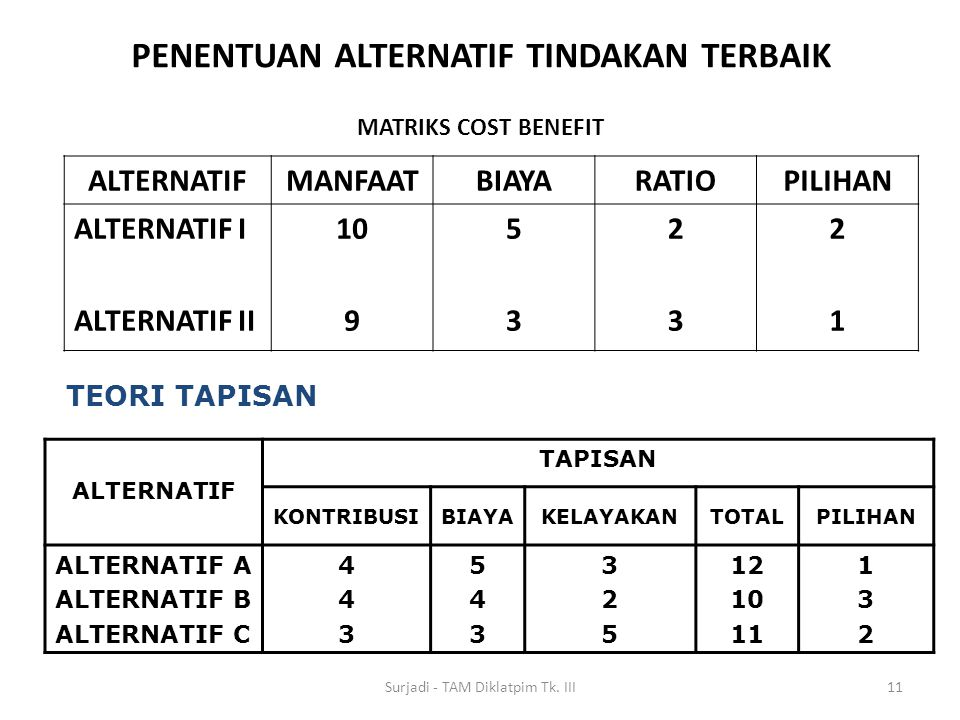 MATRIKS COST BENEFIT ALTERNATIFMANFAATBIAYARATIOPILIHAN ALTERNATIF I ALTERNATIF II 10 9 5353 2323 2121 11 TEORI TAPISAN ALTERNATIF TAPISAN KONTRIBUSIB