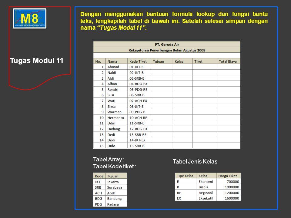 Tugas Modul 11 Dengan menggunakan bantuan formula lookup dan fungsi bantu teks, lengkapilah tabel di bawah ini.