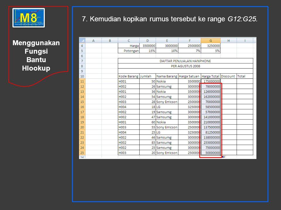 Menggunakan Fungsi Bantu Hlookup 7. Kemudian kopikan rumus tersebut ke range G12:G25.