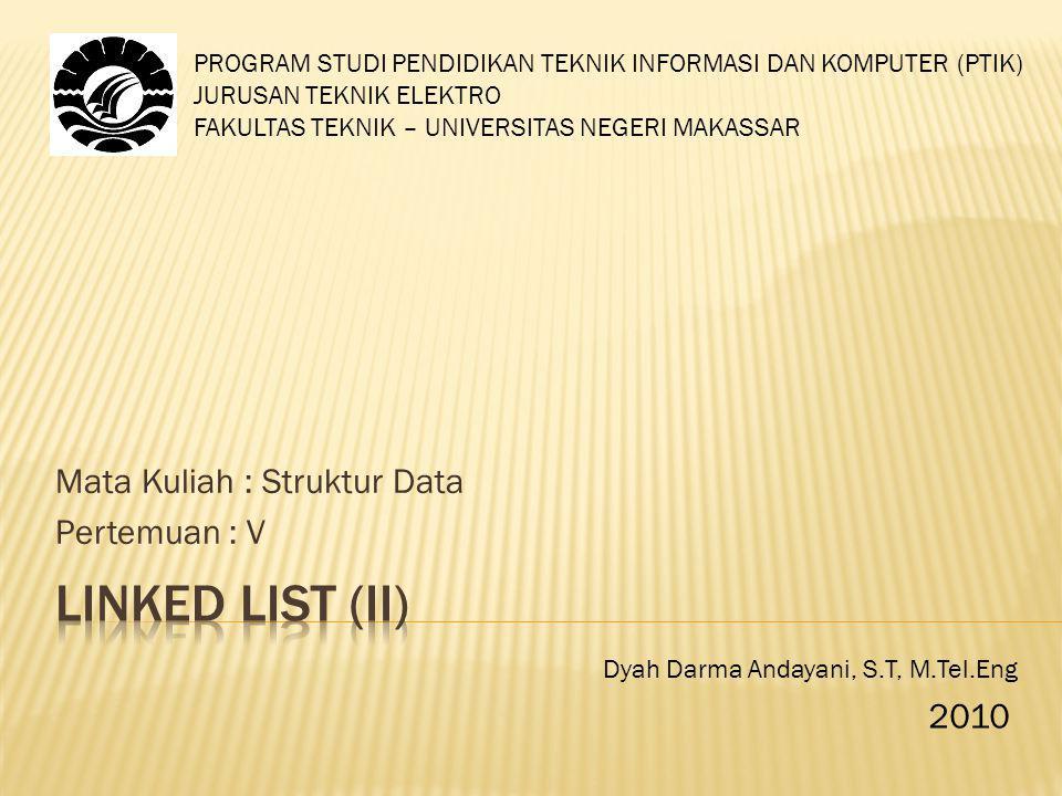 Mata Kuliah : Struktur Data Pertemuan : V PROGRAM STUDI PENDIDIKAN TEKNIK INFORMASI DAN KOMPUTER (PTIK) JURUSAN TEKNIK ELEKTRO FAKULTAS TEKNIK – UNIVERSITAS NEGERI MAKASSAR Dyah Darma Andayani, S.T, M.Tel.Eng 2010