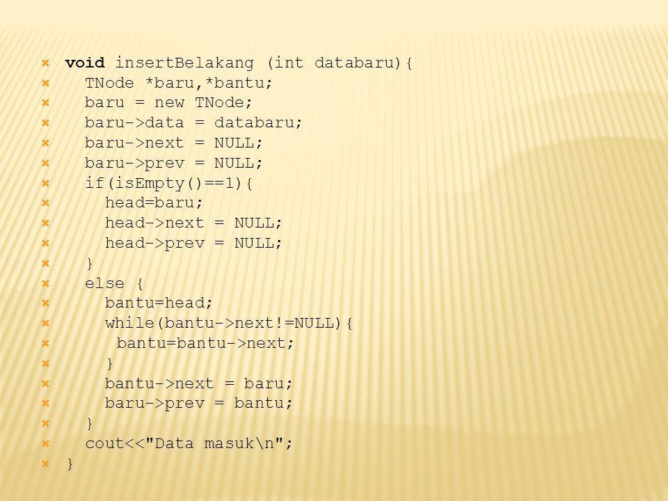  void insertBelakang (int databaru){  TNode *baru,*bantu;  baru = new TNode;  baru->data = databaru;  baru->next = NULL;  baru->prev = NULL;  if(isEmpty()==1){  head=baru;  head->next = NULL;  head->prev = NULL;  }  else {  bantu=head;  while(bantu->next!=NULL){  bantu=bantu->next;  }  bantu->next = baru;  baru->prev = bantu;  }  cout<< Data masuk\n ;  }