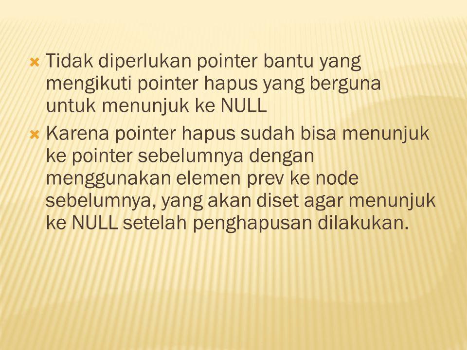  Tidak diperlukan pointer bantu yang mengikuti pointer hapus yang berguna untuk menunjuk ke NULL  Karena pointer hapus sudah bisa menunjuk ke pointer sebelumnya dengan menggunakan elemen prev ke node sebelumnya, yang akan diset agar menunjuk ke NULL setelah penghapusan dilakukan.