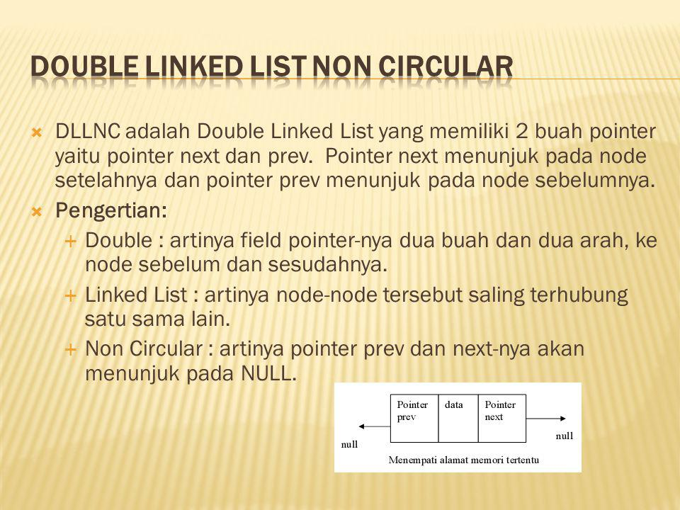  Setiap node pada linked list mempunyai field yang berisi data dan pointer ke node berikutnya & ke node sebelumnya  Untuk pembentukan node baru, mulanya pointer next dan prev akan menunjuk ke nilai NULL.