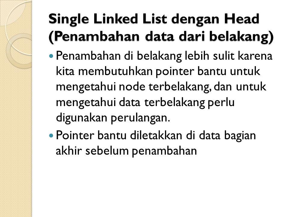 Single Linked List dengan Head (Penambahan data dari belakang) Penambahan di belakang lebih sulit karena kita membutuhkan pointer bantu untuk mengetahui node terbelakang, dan untuk mengetahui data terbelakang perlu digunakan perulangan.
