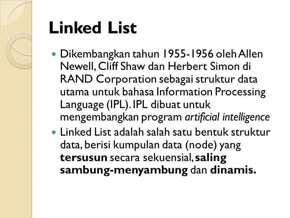Linked List Linked List saling terhubung dengan bantuan variabel pointer Masing-masing data dalam Linked List disebut dengan node (simpul) yang menempati alokasi memori secara dinamis dan biasanya berupa struct yang terdiri dari beberapa field.