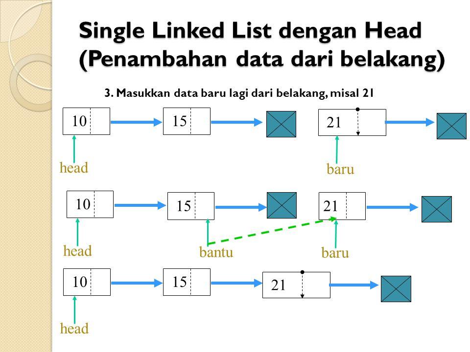 Single Linked List dengan Head (Penambahan data dari belakang) 1521 bantu 10 15 head baru 3.