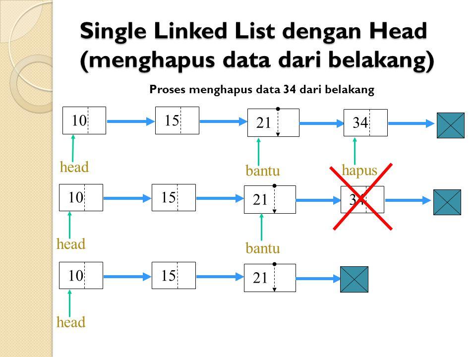 Single Linked List dengan Head (menghapus data dari belakang) Proses menghapus data 34 dari belakang 10 15 head 21 34 10 15 head 21 34 bantu hapus 10 15 head 21 bantu