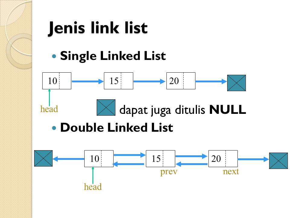 Single Linked List Pengertian: Single : artinya field pointer-nya hanya satu buah saja dan satu arah serta pada akhir node, pointernya menunjuk NULL Linked List : artinya node-node tersebut saling terhubung satu sama lain.