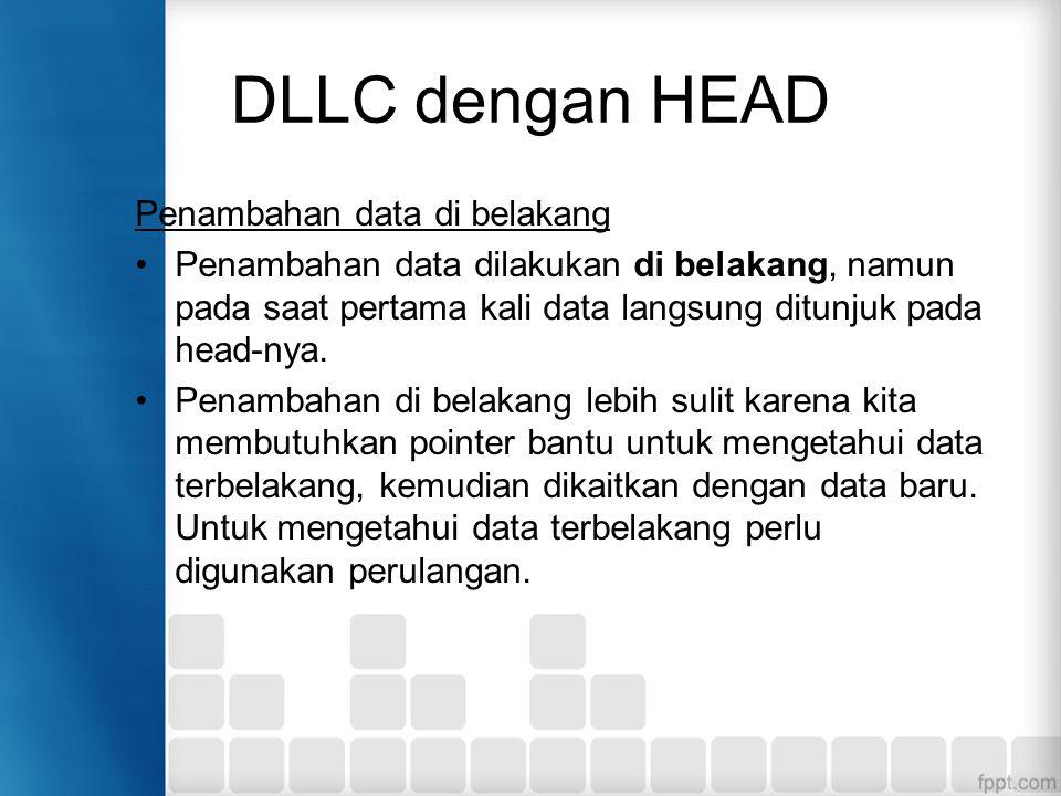 Penambahan data di belakang Penambahan data dilakukan di belakang, namun pada saat pertama kali data langsung ditunjuk pada head-nya. Penambahan di be