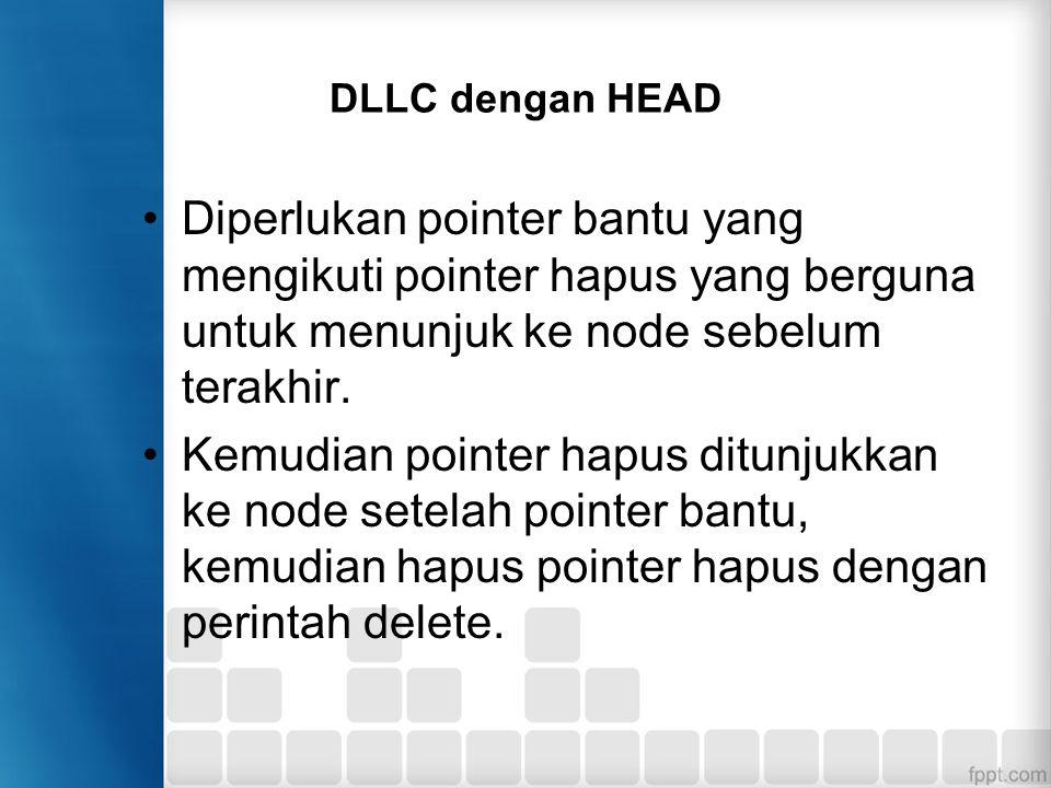DLLC dengan HEAD Diperlukan pointer bantu yang mengikuti pointer hapus yang berguna untuk menunjuk ke node sebelum terakhir. Kemudian pointer hapus di