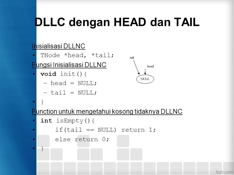 DLLC dengan HEAD dan TAIL Inisialisasi DLLNC TNode *head, *tail; Fungsi Inisialisasi DLLNC void init(){ –head = NULL; –tail = NULL; } Function untuk m