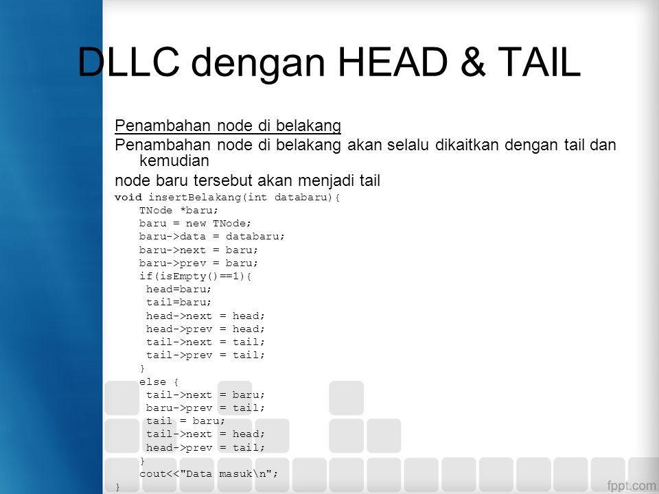 DLLC dengan HEAD & TAIL Penambahan node di belakang Penambahan node di belakang akan selalu dikaitkan dengan tail dan kemudian node baru tersebut akan