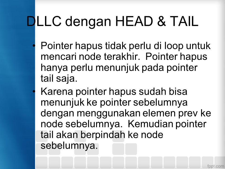 DLLC dengan HEAD & TAIL Pointer hapus tidak perlu di loop untuk mencari node terakhir. Pointer hapus hanya perlu menunjuk pada pointer tail saja. Kare