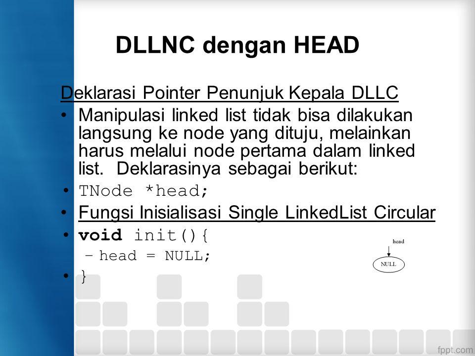 DLLNC dengan HEAD Deklarasi Pointer Penunjuk Kepala DLLC Manipulasi linked list tidak bisa dilakukan langsung ke node yang dituju, melainkan harus mel