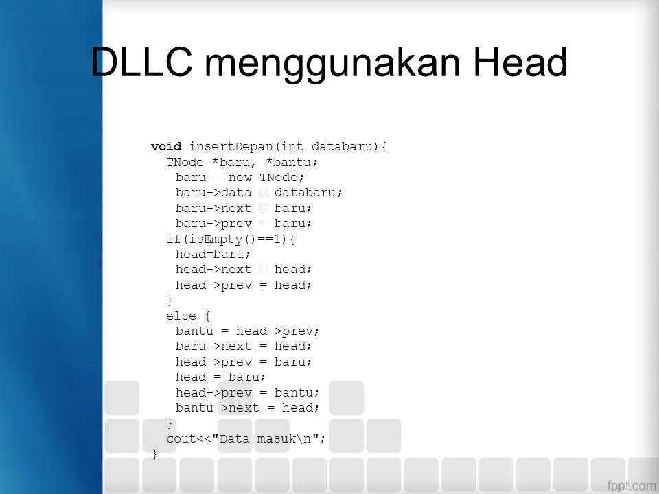 DLLC dengan HEAD dan TAIL Dibutuhkan dua buah variabel pointer: head dan tail Head akan selalu menunjuk pada node pertama, sedangkan tail akan selalu menunjuk pada node terakhir.