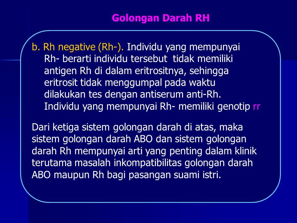 b. Rh negative (Rh-). Individu yang mempunyai Rh- berarti individu tersebut tidak memiliki antigen Rh di dalam eritrositnya, sehingga eritrosit tidak