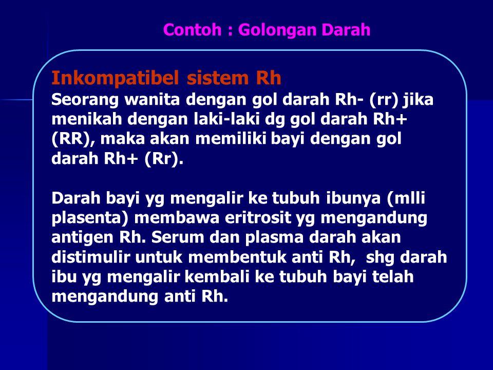 Inkompatibel sistem Rh Seorang wanita dengan gol darah Rh- (rr) jika menikah dengan laki-laki dg gol darah Rh+ (RR), maka akan memiliki bayi dengan go