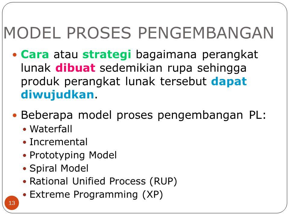 MODEL PROSES PENGEMBANGAN 13 Cara atau strategi bagaimana perangkat lunak dibuat sedemikian rupa sehingga produk perangkat lunak tersebut dapat diwuju