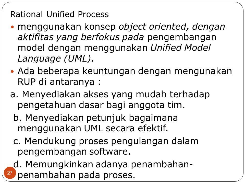 menggunakan konsep object oriented, dengan aktifitas yang berfokus pada pengembangan model dengan menggunakan Unified Model Language (UML). Ada bebera