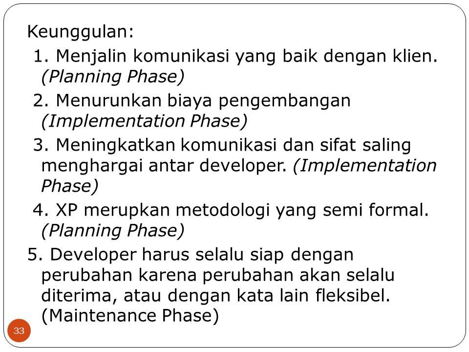 Keunggulan: 1. Menjalin komunikasi yang baik dengan klien. (Planning Phase) 2. Menurunkan biaya pengembangan (Implementation Phase) 3. Meningkatkan ko
