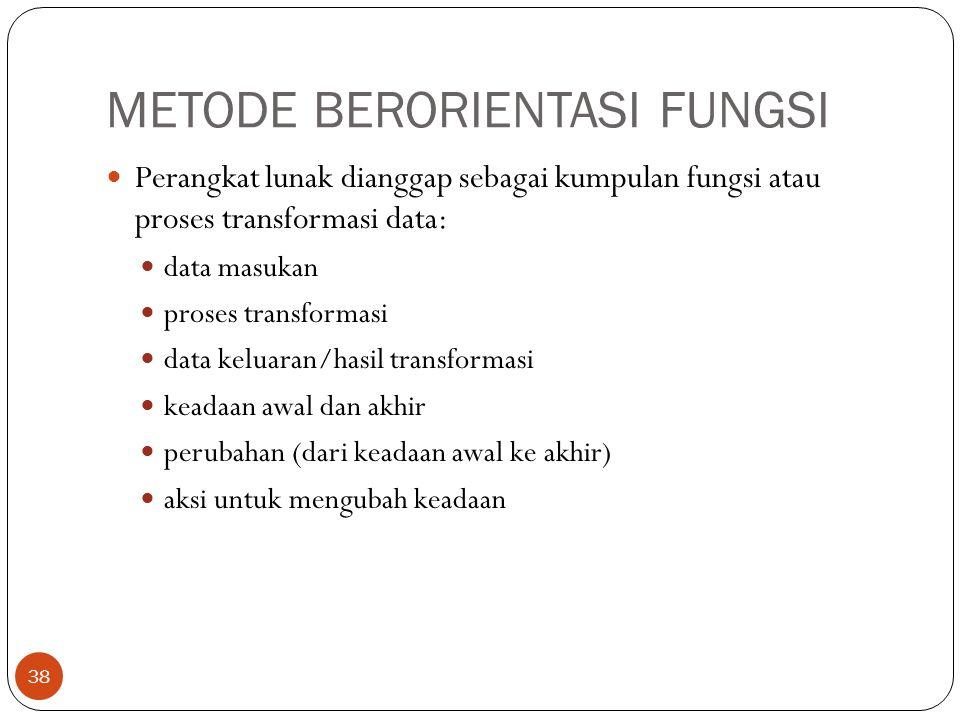 METODE BERORIENTASI FUNGSI 38 Perangkat lunak dianggap sebagai kumpulan fungsi atau proses transformasi data: data masukan proses transformasi data ke