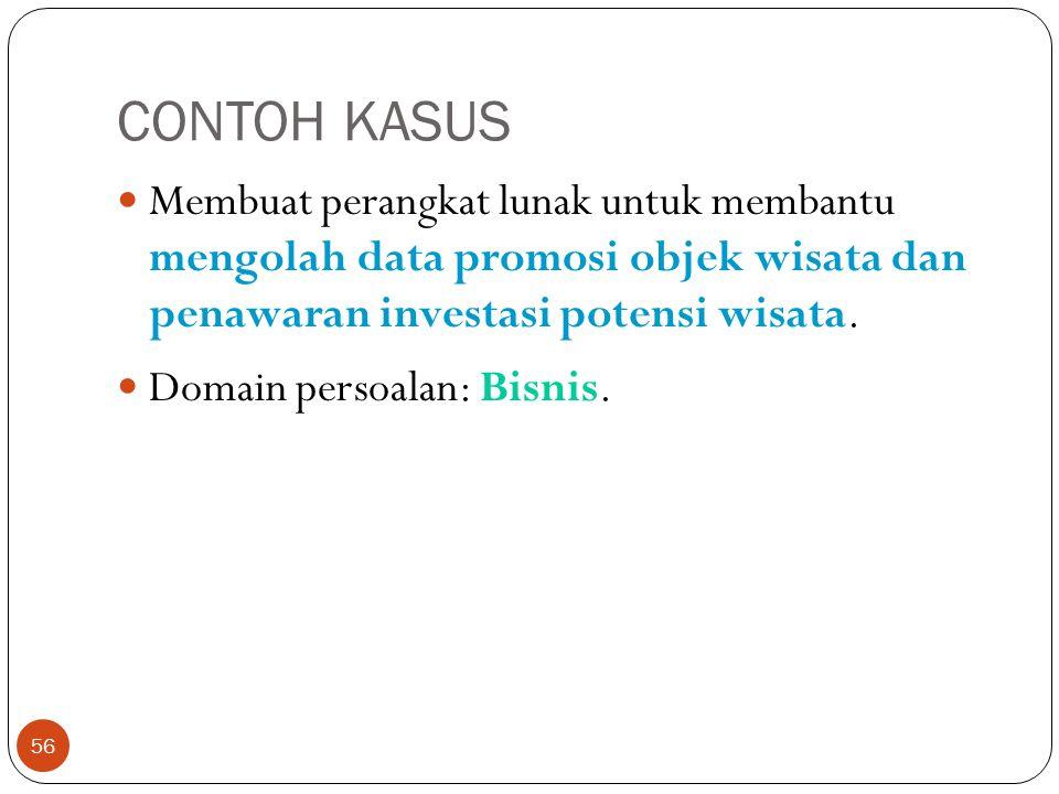 CONTOH KASUS 56 Membuat perangkat lunak untuk membantu mengolah data promosi objek wisata dan penawaran investasi potensi wisata. Domain persoalan: Bi
