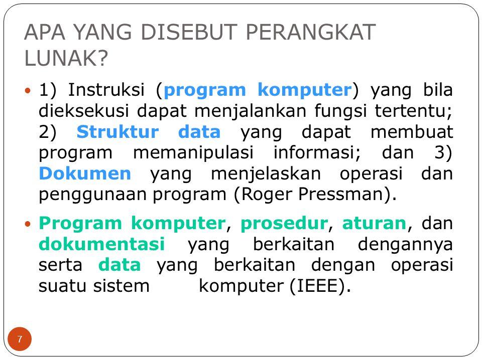 APA YANG DISEBUT PERANGKAT LUNAK? 7 1) Instruksi (program komputer) yang bila dieksekusi dapat menjalankan fungsi tertentu; 2) Struktur data yang dapa