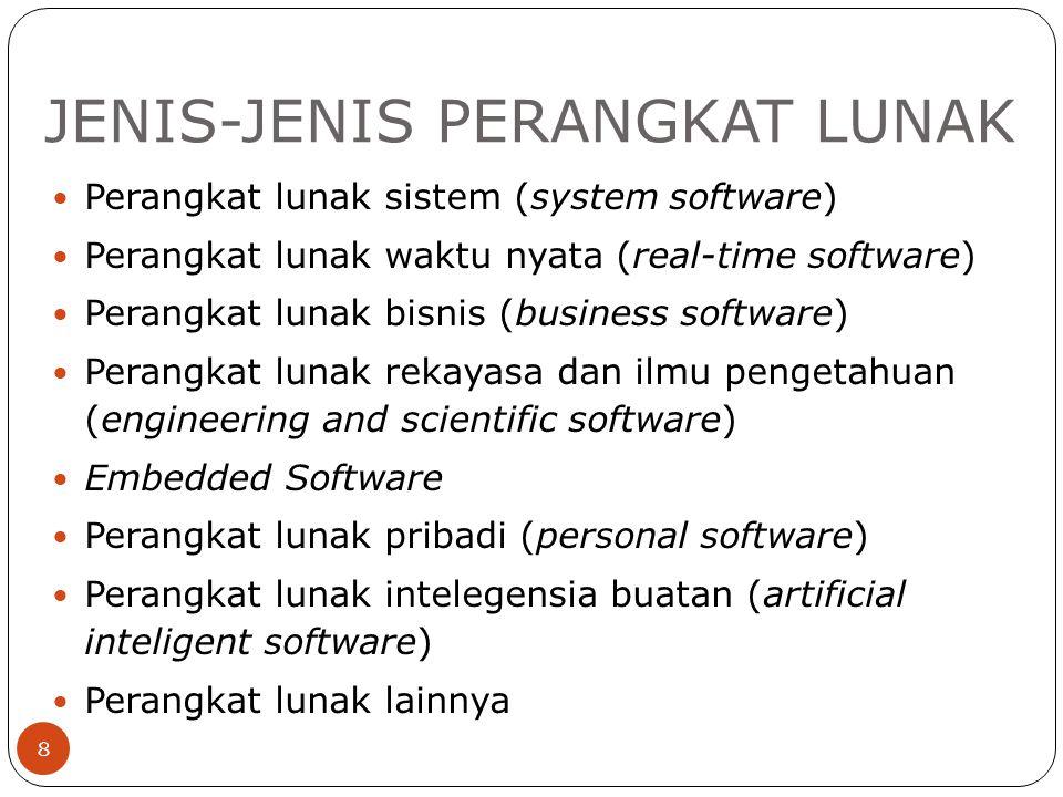 JENIS-JENIS PERANGKAT LUNAK 8 Perangkat lunak sistem (system software) Perangkat lunak waktu nyata (real-time software) Perangkat lunak bisnis (busine