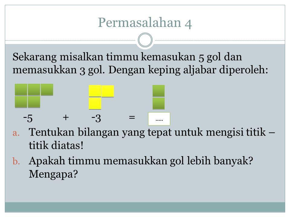 Permasalahan 3 Misalkan satu keping berwarna kuning mewakili +1 atau 1. a. Tulislah kalimat untuk model di atas! b. Apakah tanda dari hasil penjumlaha