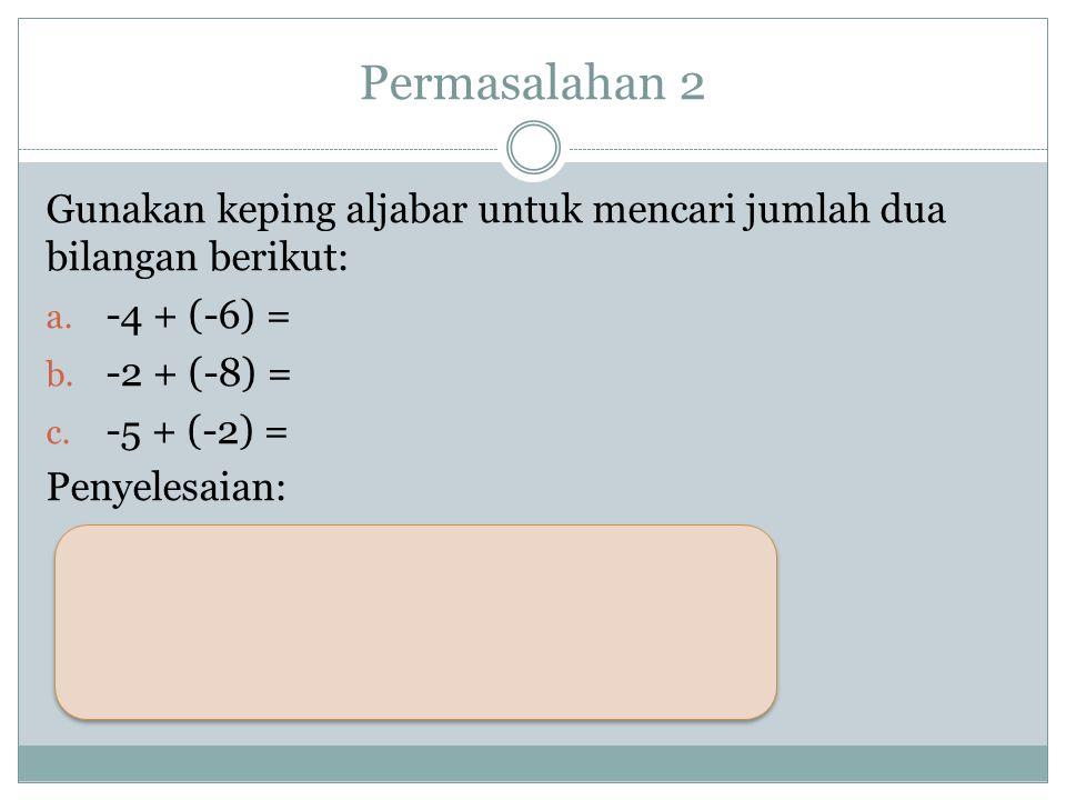 Permasalahan 2 Gunakan keping aljabar untuk mencari jumlah dua bilangan berikut: a.