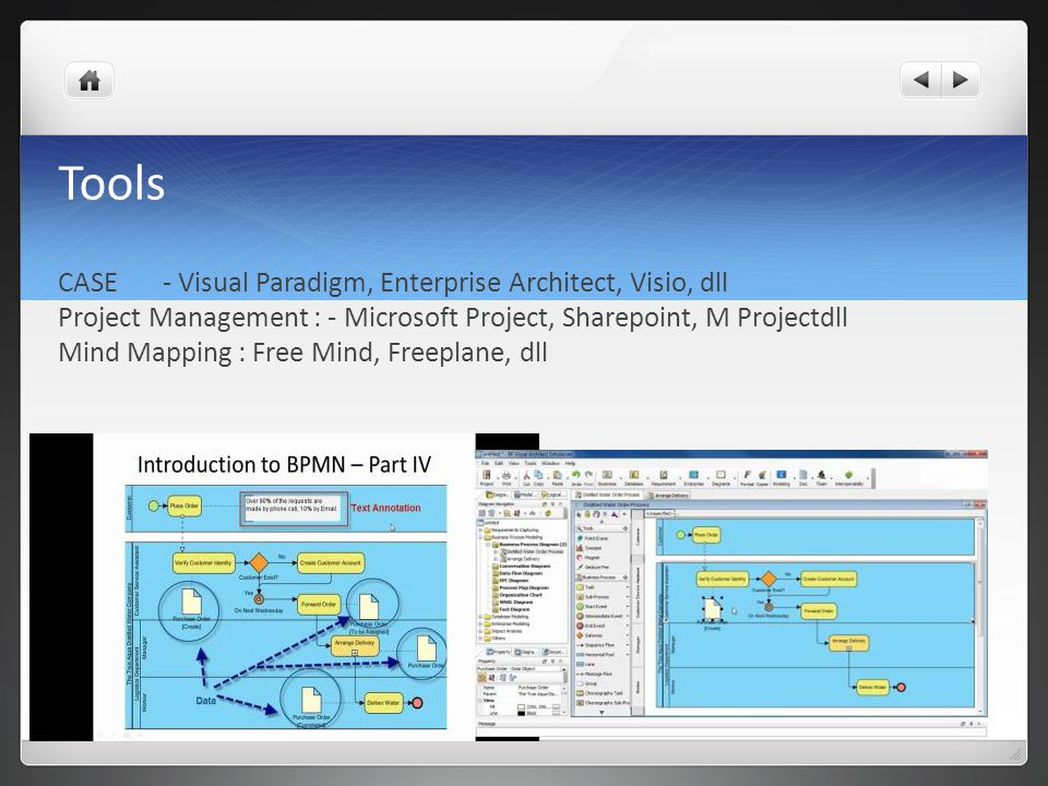 Tools CASE - Visual Paradigm, Enterprise Architect, Visio, dll Project Management : - Microsoft Project, Sharepoint, M Projectdll Mind Mapping : Free Mind, Freeplane, dll