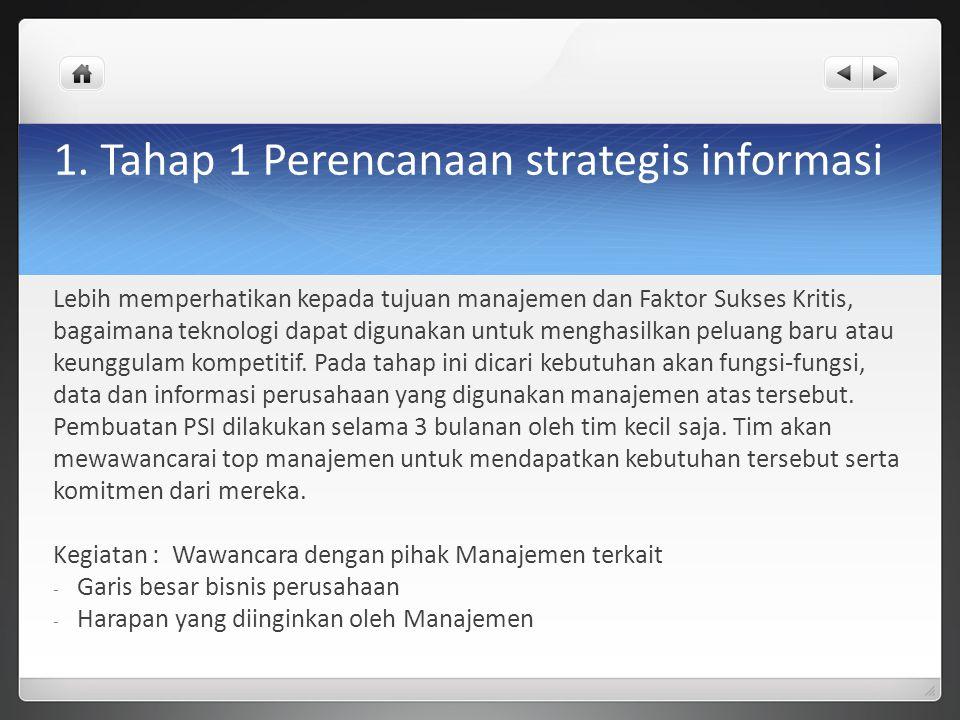 1. Tahap 1 Perencanaan strategis informasi Lebih memperhatikan kepada tujuan manajemen dan Faktor Sukses Kritis, bagaimana teknologi dapat digunakan u