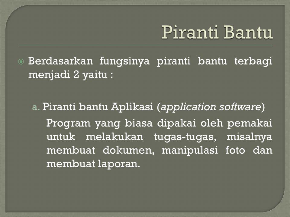  Berdasarkan fungsinya piranti bantu terbagi menjadi 2 yaitu : a. Piranti bantu Aplikasi (application software) Program yang biasa dipakai oleh pemak