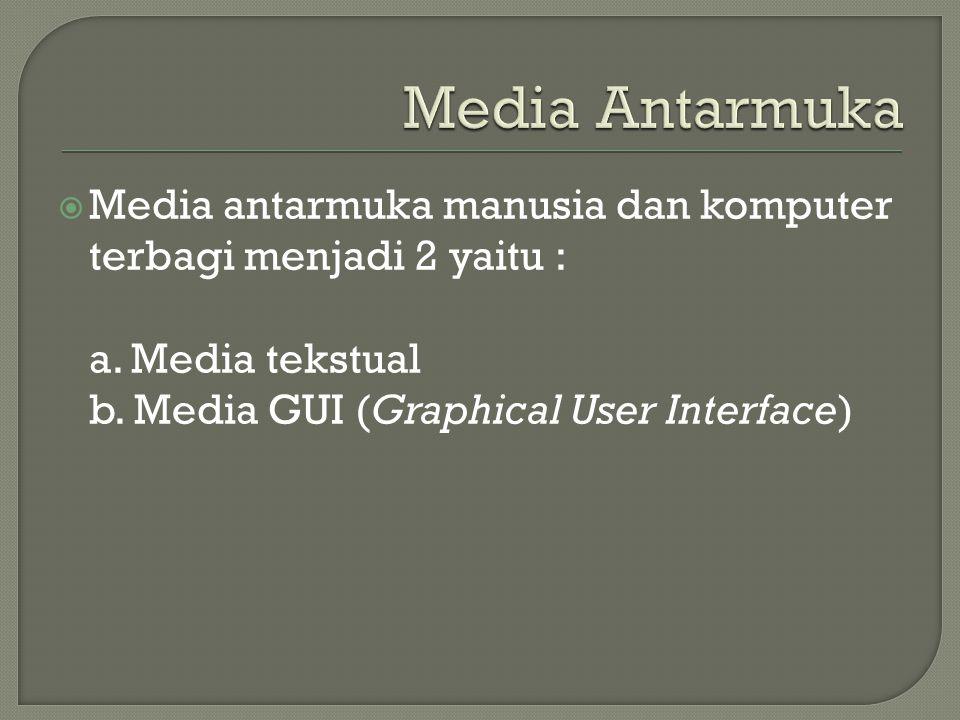  Media antarmuka manusia dan komputer terbagi menjadi 2 yaitu : a. Media tekstual b. Media GUI (Graphical User Interface)