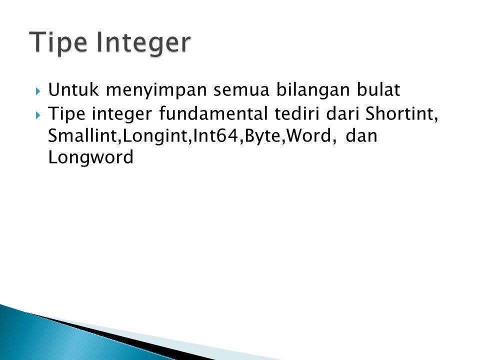  Untuk menyimpan semua bilangan bulat  Tipe integer fundamental tediri dari Shortint, Smallint,Longint,Int64,Byte,Word, dan Longword