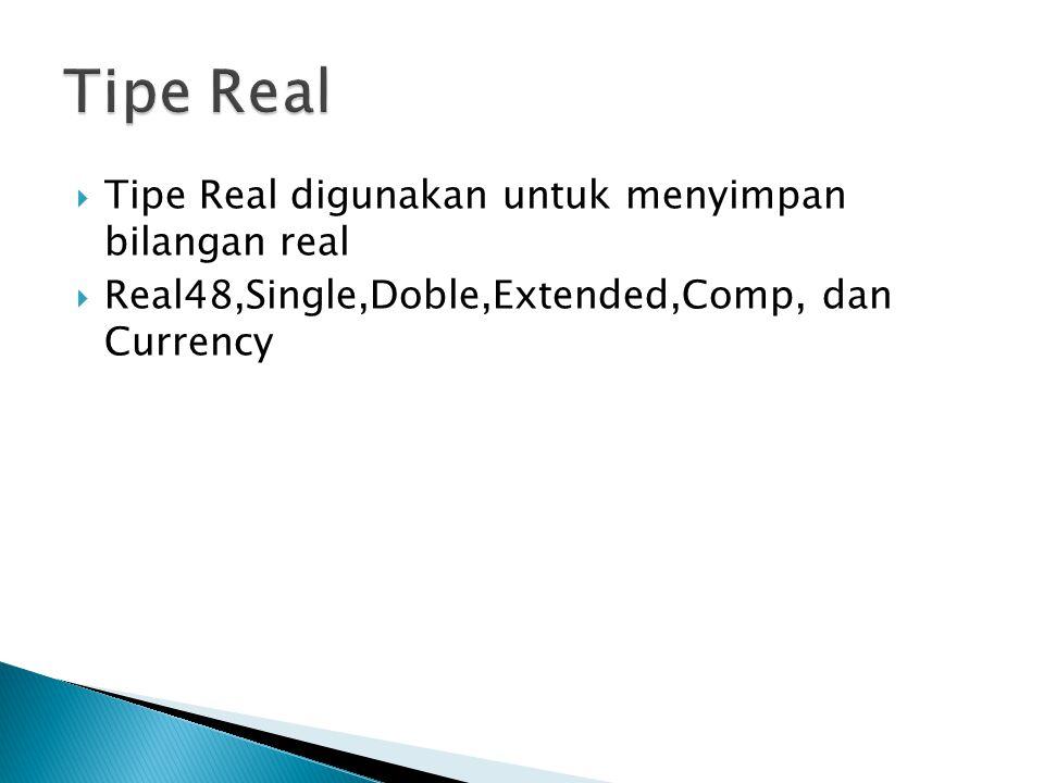  Tipe Real digunakan untuk menyimpan bilangan real  Real48,Single,Doble,Extended,Comp, dan Currency