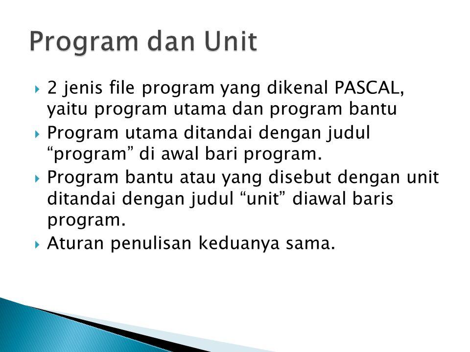 """ 2 jenis file program yang dikenal PASCAL, yaitu program utama dan program bantu  Program utama ditandai dengan judul """"program"""" di awal bari program"""