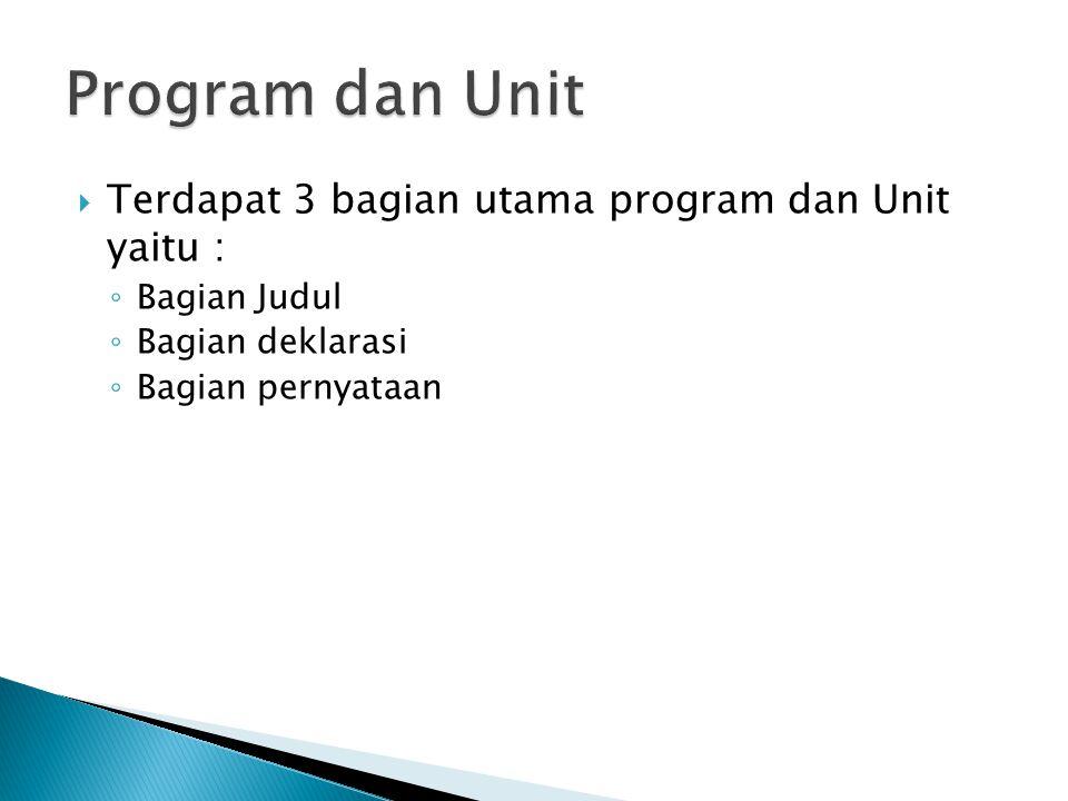  Terdapat 3 bagian utama program dan Unit yaitu : ◦ Bagian Judul ◦ Bagian deklarasi ◦ Bagian pernyataan