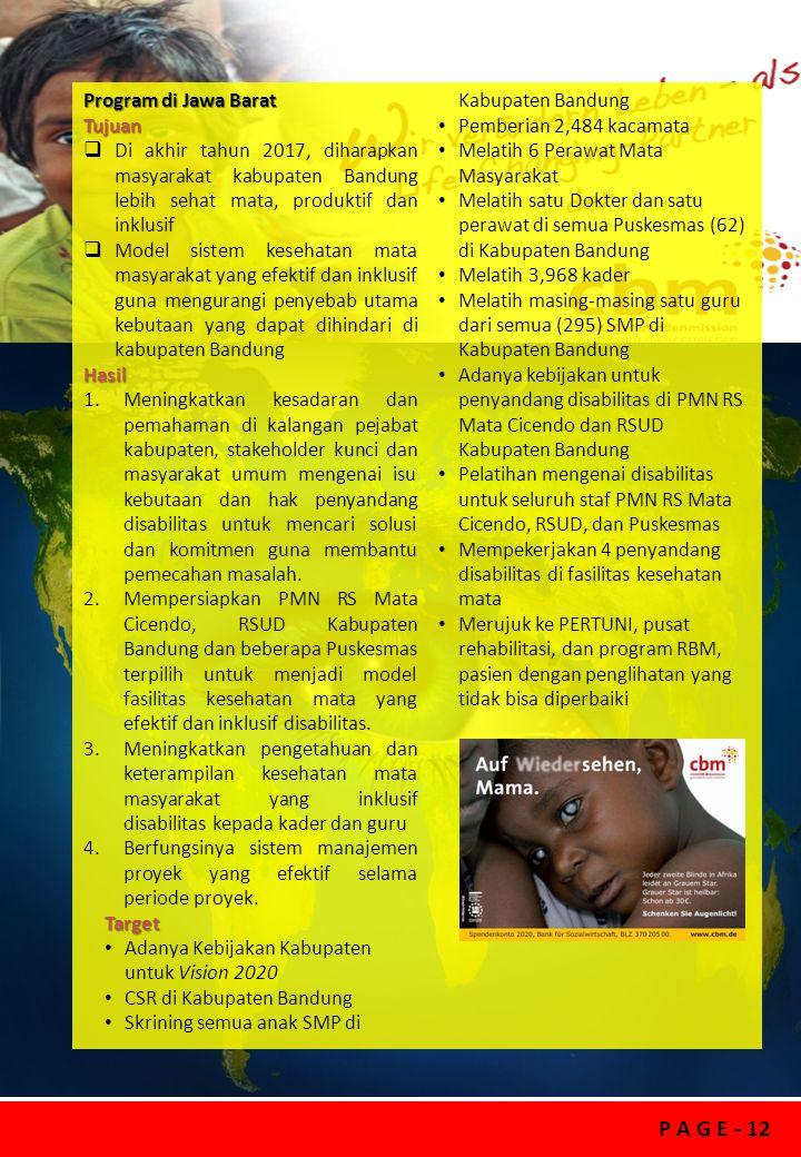 P A G E - 12 Program di Jawa Barat Tujuan  Di akhir tahun 2017, diharapkan masyarakat kabupaten Bandung lebih sehat mata, produktif dan inklusif  Mo
