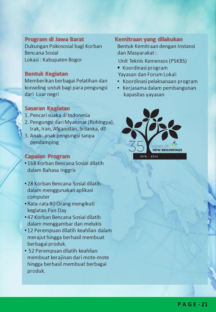 P A G E - 21 Program di Jawa Barat Dukungan Psikososial bagi Korban Bencana Sosial Lokasi : Kabupaten Bogor Bentuk Kegiatan Memberikan berbagai Pelati