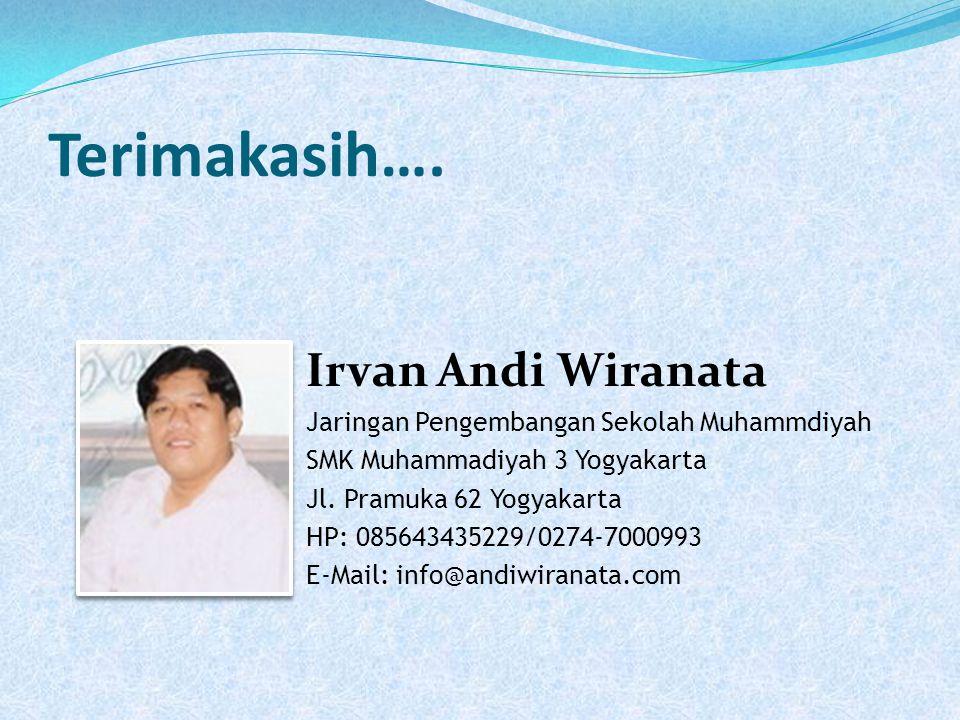Terimakasih…. Irvan Andi Wiranata Jaringan Pengembangan Sekolah Muhammdiyah SMK Muhammadiyah 3 Yogyakarta Jl. Pramuka 62 Yogyakarta HP: 085643435229/0