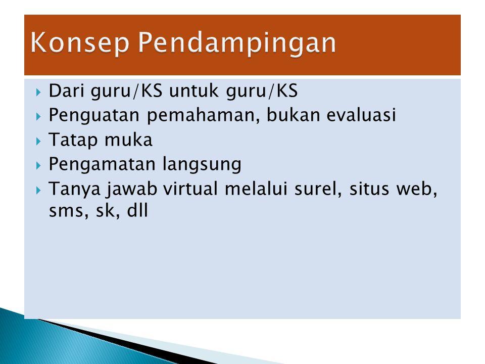  Dari guru/KS untuk guru/KS  Penguatan pemahaman, bukan evaluasi  Tatap muka  Pengamatan langsung  Tanya jawab virtual melalui surel, situs web, sms, sk, dll