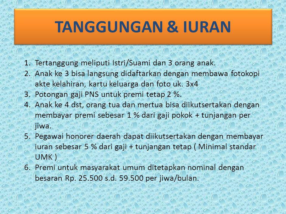 TANGGUNGAN & IURAN 1.Tertanggung meliputi Istri/Suami dan 3 orang anak.