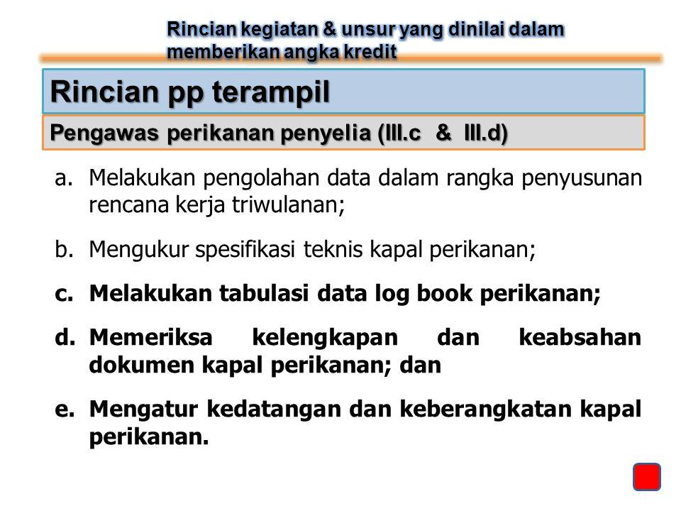 Rincian pp terampil a.Melakukan pengolahan data dalam rangka penyusunan rencana kerja triwulanan; b.Mengukur spesifikasi teknis kapal perikanan; c.Mel